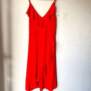 Zara red ruffle med v neck dress nwot